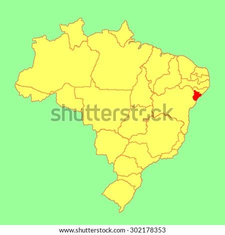 Sergipe, Brazil,  vector map isolated on Brazil map. Editable vector map of Brazil.  - stock vector