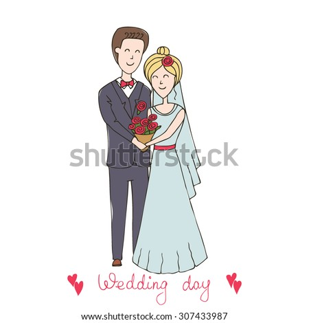 """Series abstract vector illustration """"of the life of a pair of lovers"""". Love card. wedding set, bride and groom. Wedding invitations. Hand drawn wedding couple. Just married - stock vector"""