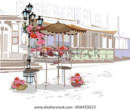 Series of backgrounds decorated with flowers, old town views and street cafes. Hand drawn Vector Illustration.  - stock vector