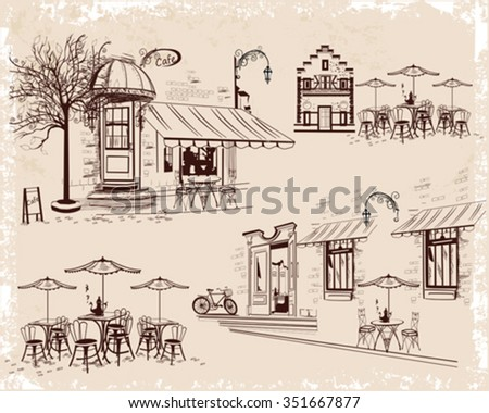 Series of backgrounds decorated with old town views and street cafes. Hand drawn Vector Illustration  - stock vector