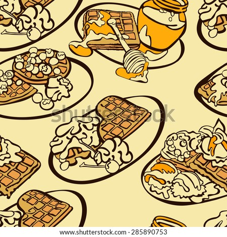of-breakfast-waffles-vector-seamless-illustration-which-shows-waffles ...