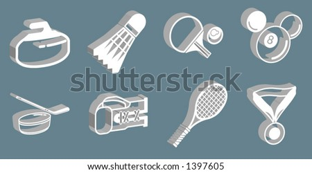 series of 3d sport icons - stock vector