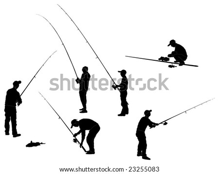 Series of Fisherman Silhouettes - stock vector