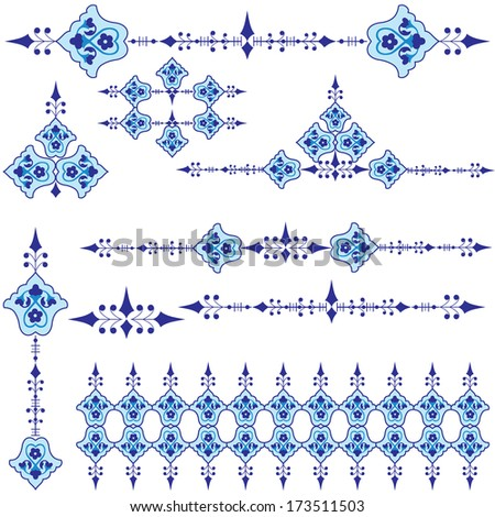 series of patterns designed by taking advantage of the former Ottoman - stock vector