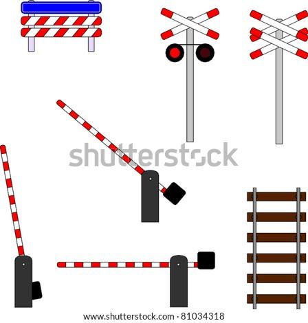 Series of railway crossing symbols - stock vector