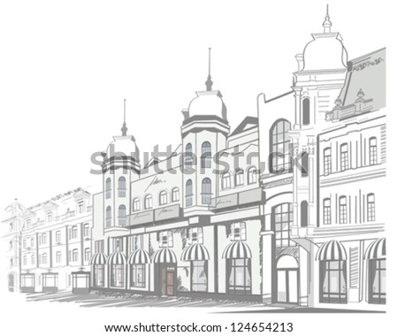 Series of sketches of beautiful old city views - stock vector