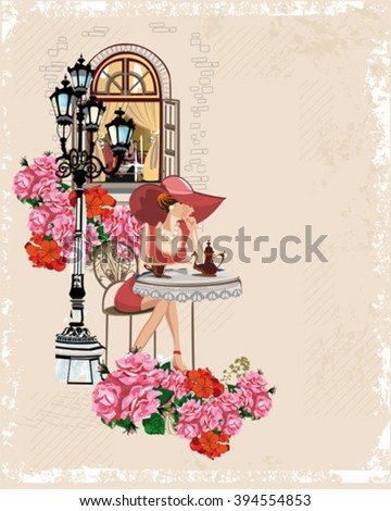 Series of sketches of beautiful old city views with cafe windows and flowers. Fashion girl at the cafe table, drinking coffee. - stock vector