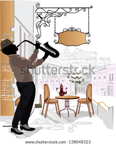 Series of sketches of beautiful old city views with cafes and a musician - stock vector