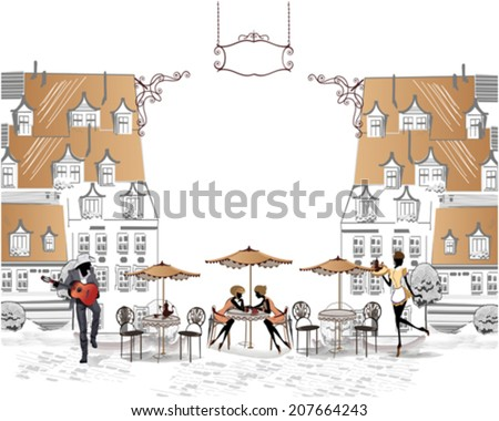 Series of sketches of beautiful old city views with cafes - coffee frame with girls, a musician, a waitress - stock vector
