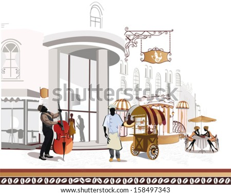 Series of street cafes in the city with a cook and a musician - stock vector