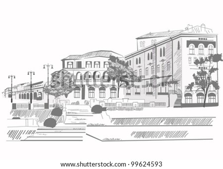 Series of street sketches in an old city - stock vector