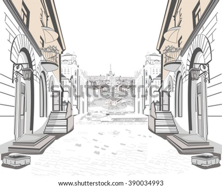 Series of street views in the old city. - stock vector