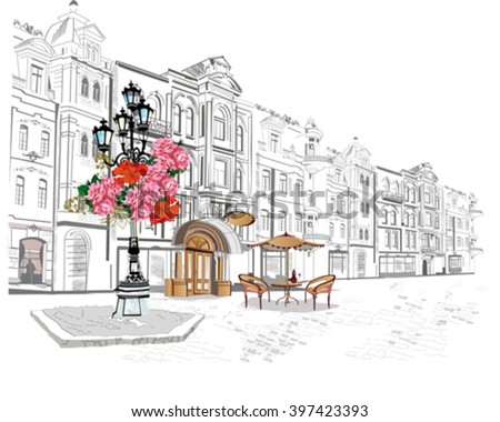 Series of street views in the old city. Hand drawn vector architectural background with historic buildings and cafes. - stock vector