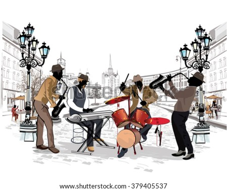 Series of the streets with musicians in the old city. - stock vector