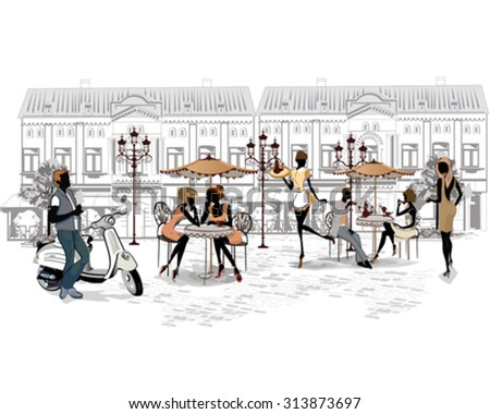 Series of the streets with people in the old city and street musicians. - stock vector