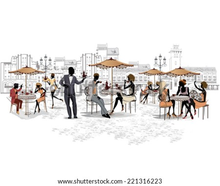 Series of the streets with people in the old city, street cafe - stock vector