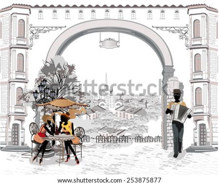 Series of the streets with people in the old city, street musicians - stock vector