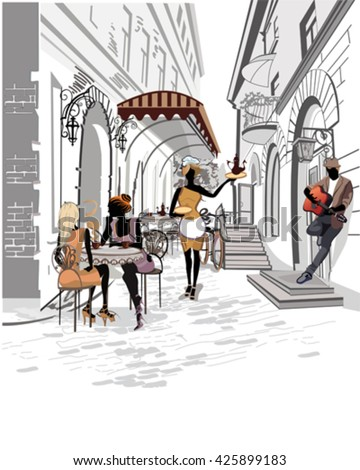 Series of the streets with people in the old city. Waiters serve the tables. Street cafe. Musicians. - stock vector