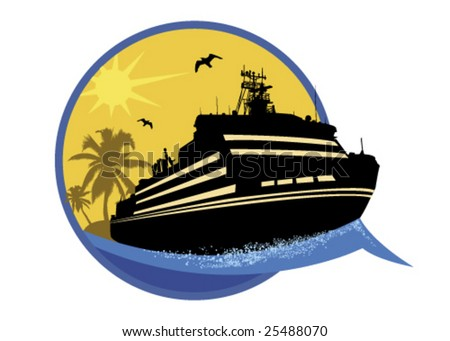 Series of tourism Steamship - stock vector