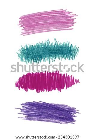 Series of vector color pencil strokes - stock vector