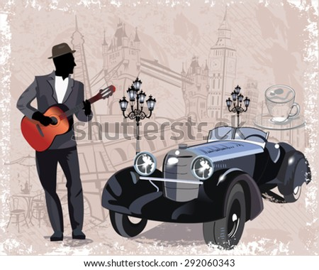 Series of vintage backgrounds decorated with retro cars, musicians, old town views and street cafes. Hand drawn Vector Illustration.  - stock vector