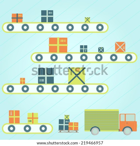 Series production. Packages on a conveyor. Truck delivery. - stock vector
