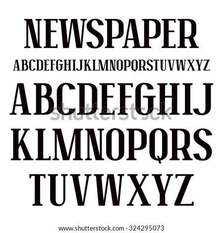 Serif font in newspaper style. Bold face. Black font on white background - stock vector