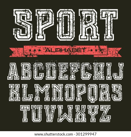 Serif font in the style of college with shabby texture. White font on black background - stock vector