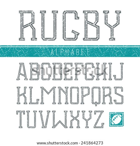 Serif font medium in the sport style with shabby texture. Dark font on white background - stock vector