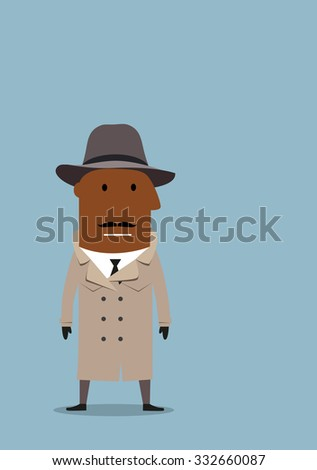 Serious african american detective man or spy agent in gray coat and fedora hat. Cartoon flat style - stock vector