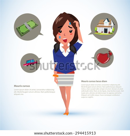 serious women with icons. money. car. house. broken heart - vector illustration - stock vector