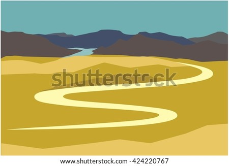 serpentine road in the mountains - stock vector