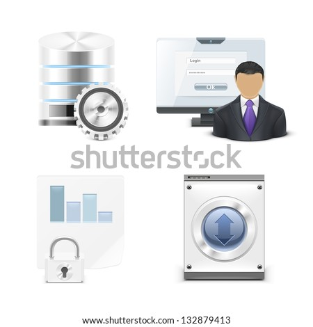 server and pc vector icon set - stock vector