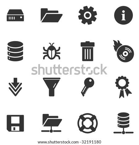 Server black web icons - stock vector