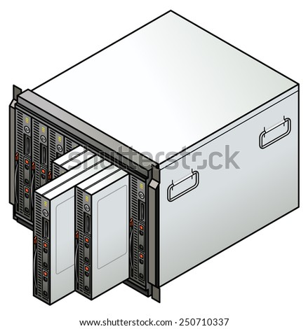 Server component: blade server combo with eight blades. Three blades are being removed.  - stock vector