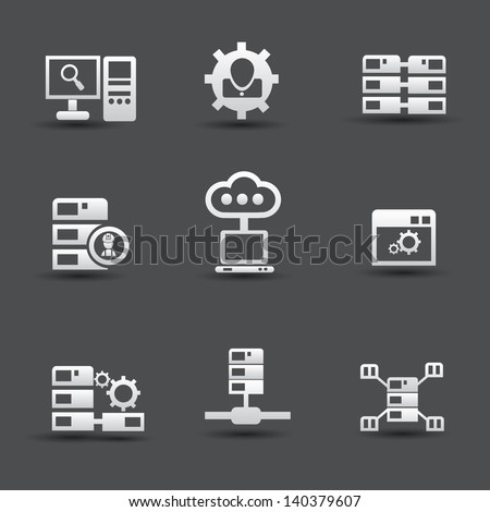 Server computer & database icons,vector - stock vector