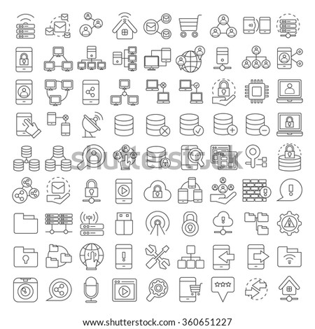 server, database icons, network and communication icons set, thin line theme - stock vector