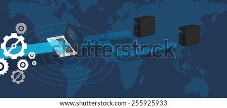 Server distribute database - stock vector