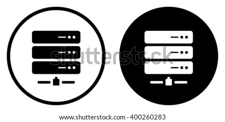 Server hosting icon in circle . Vector illustration - stock vector