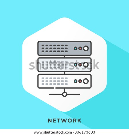 Server icon with dark grey outline and offset flat colors. Modern style minimalistic vector illustration for network access server, server network backend. - stock vector