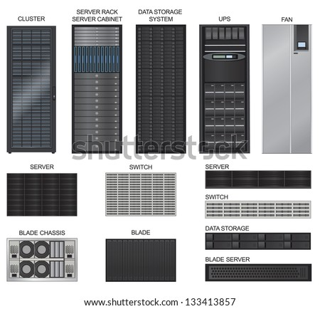 Server room equipment vector set.  Data center icon collection. Row of Network Server isolated on white background.  - stock vector