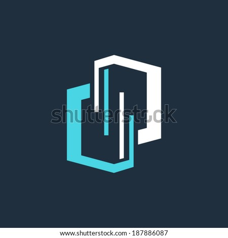Server technology Branding Identity Corporate vector logo design template Isolated on a dark background - stock vector