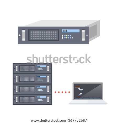 Servers and Laptop - stock vector