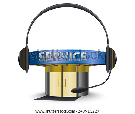 Service center with a headset as concept - stock vector