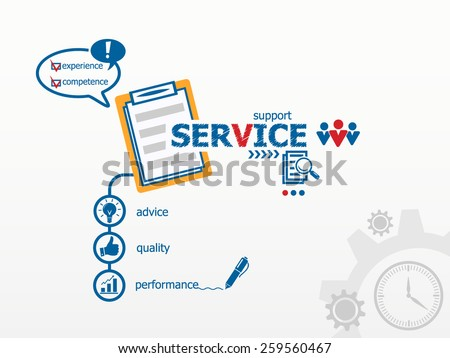 Service concept and notebook for efficiency, creativity, intelligence. Hand writing Service with blue marker - stock vector