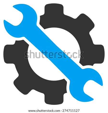 Service icon. This isolated flat symbol uses modern corporation light blue and gray colors. - stock vector