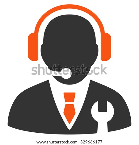 Service Manager vector icon. Style is bicolor flat symbol, orange and gray colors, rounded angles, white background. - stock vector