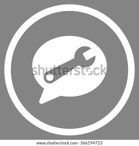 Service Message vector icon. Style is flat circled symbol, color, rounded angles, white background. - stock vector