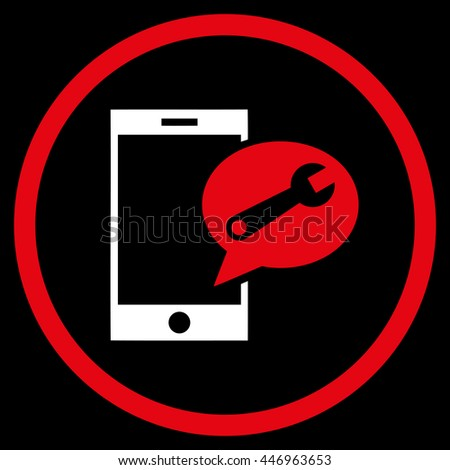 Service SMS vector bicolor icon. Image style is a flat icon symbol inside a circle, red and white colors, black background. - stock vector