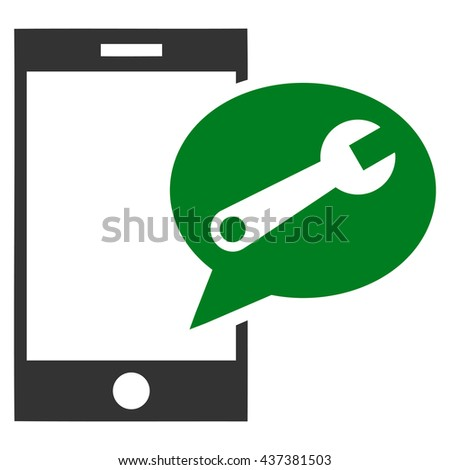 Service SMS vector icon. Style is bicolor flat icon symbol, green and gray colors, white background. - stock vector